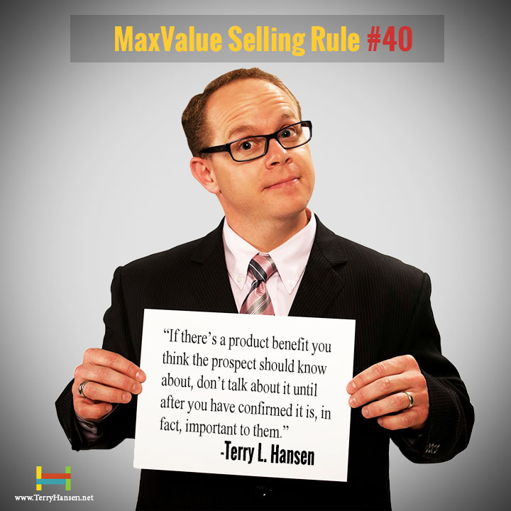 Terry Hansen-Maxvalue Selling Rule#40